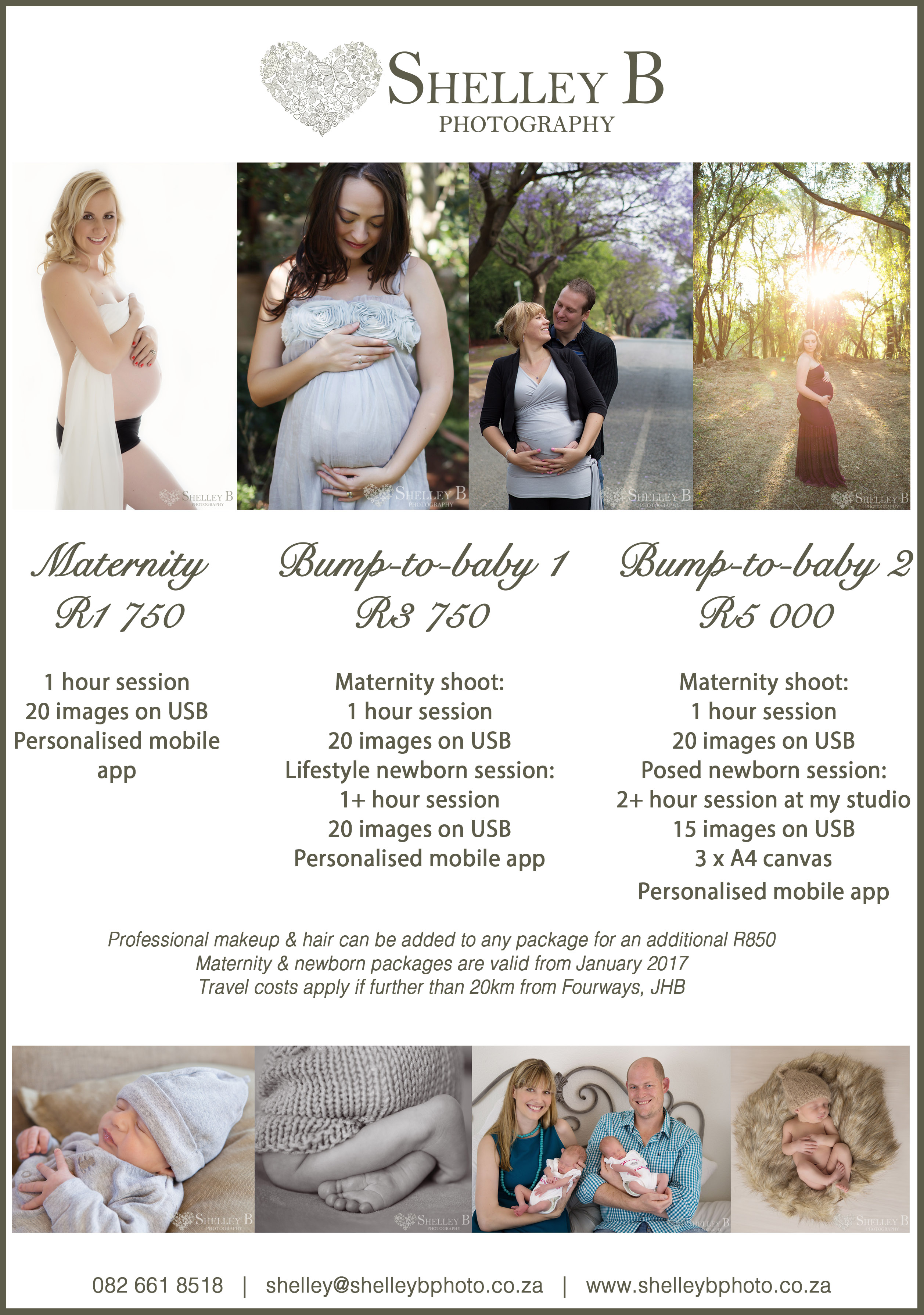Shelley B Photography Maternity & Newborn Packages
